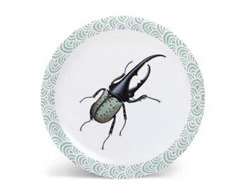 "Hercules Beetle Melamine Plate, Melamine Plate, Vintage Insect Illustration, Kitchen, decorative plate, gift, Dinner Plate, 10"" plate,"