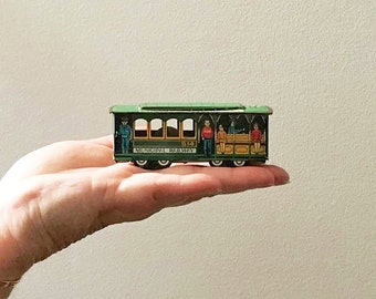 Vintage Trolley Cablecar Tin Lithograph Miniature Toy ~ San Francisco - Marked Japan