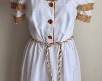 vintage 1960s Adde II California White Boho Casual Dress XXS XS