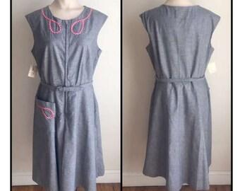 Vintage Kay Whitney by Huntington Step In Romper Dress Skort New Old Stock 10 12