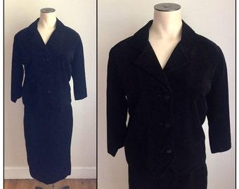 Vintage 1960s Nelly de Grab Black Velvet Velveteen Skirt Suit 2 4