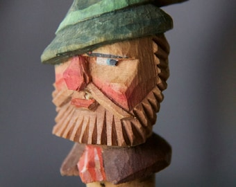 German Wood Carved Green Hat & Beard Bottle Stopper