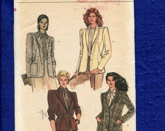 Vintage 1980's Vogue 8109 Retro Blazers with Shawl or Notched Collars and Princess Seams Size 12