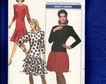 Vintage 1980's Butterick 5891 Drop Waist Frilly Skirt & Strong Shoulders Size 8..10..12 UNCUT