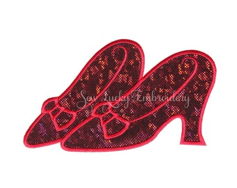 Ruby slippers patch - Wizard of oz patch - Ruby slippers iron on - Ruby slippers sew on - Dorothy -  Embroidered patch - iron on - sew on