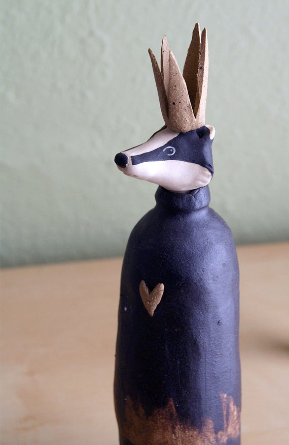badger king vase - ceramic badger sculpture - natural hand-built - king of hearts