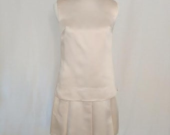 Vintage Champagne Cocktail Dress with Jeweled Neckline