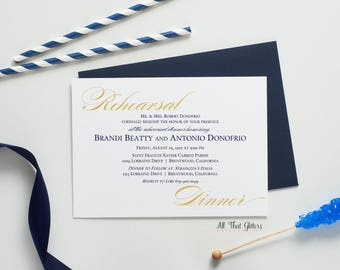 Navy Blue and Gold Rehearsal Dinner Invitation, Rehearsal Dinner Invitation Wedding, Gold and Navy Blue Rehersal Dinner Invite, Brandi