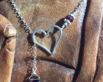 NEW! Sterling Silver Heart Lariat with Garnet Heart Briolette