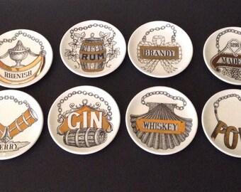 Vintage Piero Fornasetti-Milano Drink Coasters, Vini E Liquori, Italy, Set of 8