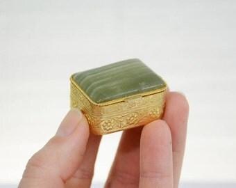 Natural Stone and Filigree Brass Gold Tone Pill Box - Made in Spain; Chiarugi & C SRL Firenze