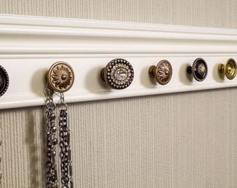 YOU CHOOSE 5,7 or 9 KNOBS on this Jewelry organizer featuring rhinestone center knob. Can add hooks black & gold accents wall storage rack