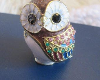 "owl, bejeweled, enamel, brass,- very much like ** strongwater style- 2"" tall"