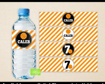 Basketball Water Bottle Labels -  Basketball Water Bottle Wraps - Sports Bottle Labels- Basketball Party Decor - Emailed & Shipped