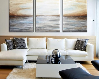 Original Extra Large Art Triptych Landscape Oil Painting Abstract Art Horizon Seascape Gray Umber Modern painting by L.Beiboer