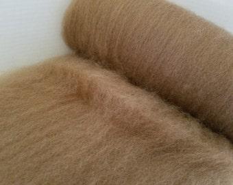 Romney Cross Batt, 4 oz. natural spinning fiber, carded batt, hand processed, felting fiber