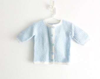 Vintage Baby Blue Baby Sweater Blue Knit Baby Sweater Baby Blue Toddler Sweater Knit Toddler Sweater Blue and White Sweater 12 months
