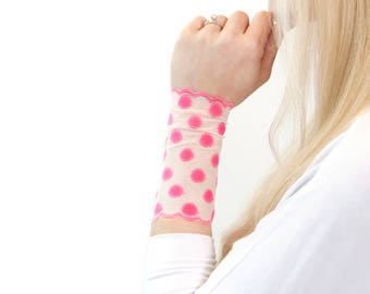 Lace Wrist Cuff, Lace Bracelet, Pink Polka Dot Wide Arm Band, Wristband Wrist Tattoo Cover Up Lace Cuff Bracelet Tattoo Covers Lace Jewelry