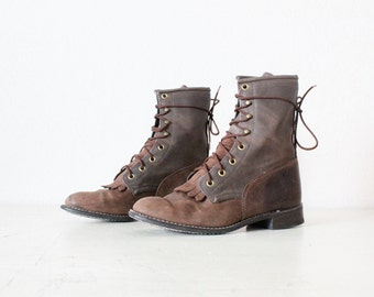 rustic leather lace boots / 7.5