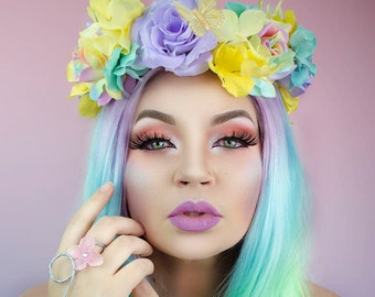 Pastel Rainbow Floral Crown - one of a kind