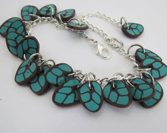 Bracelet, Turquoise bracelet, blue bracelet, Artisan Bracelet, Gift for her,  Leaf jewelry, Turquoise leaf, beaded bracelet, chic bracelet