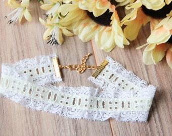 White and yellow eyelet lace choker necklace | Romantic choker | Statement choker | Summer jewelry |  Victorian choker | Yellow choker |