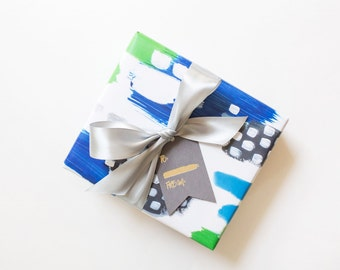 Gift Wrap Abstract - Premium Wrapping Paper in Blue/Green