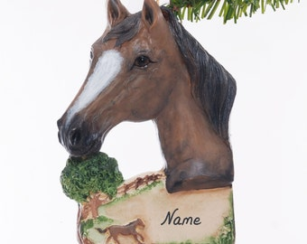 Buckskin Horse Resin Christmas Ornament Hand Made in the USA Personalized With Your Choice of Name and or Year Gift Box Included (98)