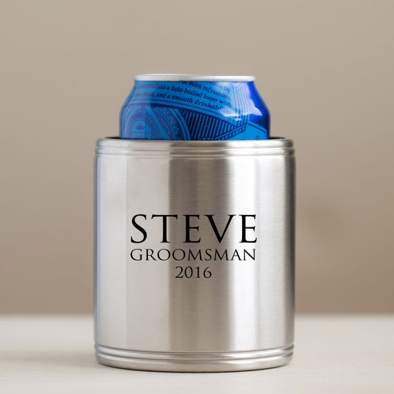 Personalized Can Coolers ~ Personalized stainless steel can cooler wedding