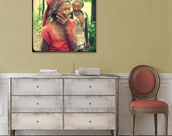 Couple Canvas Print, True Love, Valentines Day, Nepal Art, Old Couple, Portrait, People, Man and Woman, Travel Photo, Large Canvas Decor
