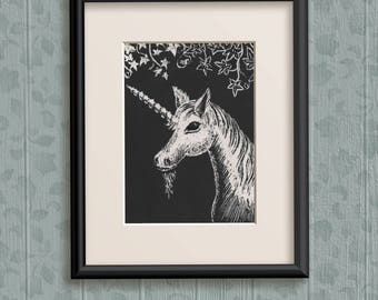 Unicorn Original Art ACEO, made by engraving on scratchboard. Small drawing/engraving of a white unicorn at night, with tendrils of ivy.
