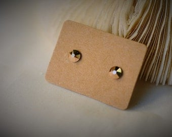 Petite SWAROVSKI Crystal Metallic Light Gold (001 MLGLD) with Stainless Steel Stud Earring ~ 5 mm - Girls / Casual / Elegant