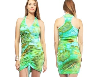 Cinch Dress in Jungle Ice Hand Dyed