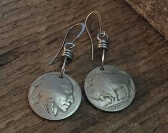 Indian Head Nickel Buffalo Nickel Earrings, Coin Earrings,