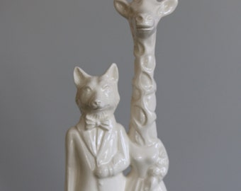 Fox and Giraffe  Wedding Cake Topper  Handmade ceramic