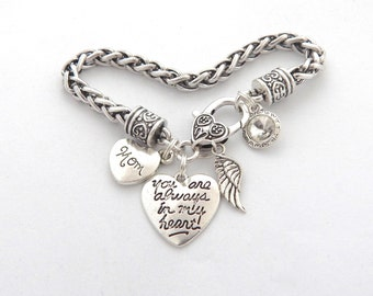 Memorial Bracelet, Sympathy Gift Mother, SYMPATHY BRACELET, Loss of mom, Mom Remembrance Bracelet, In memory of, You are always in my heart