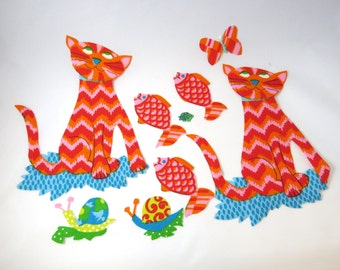 Striped Orange Cat Appliques with Fish, Snail, Butterfly, Iron On Sew On, Vintage Cutouts, Whimsical, Humorous