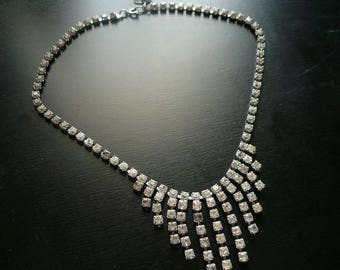 Vintage Rhinestone Necklace Chevron Bib Necklace - Glam, Art Deco Style, Vintage Wedding