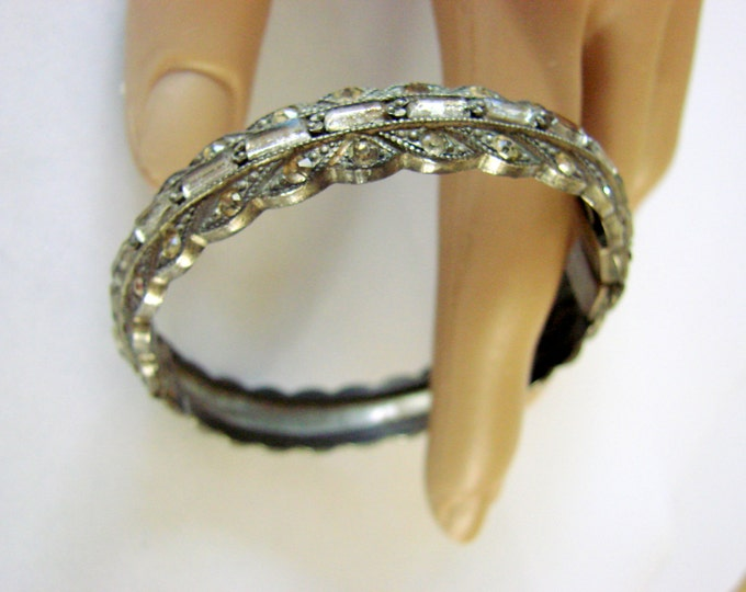 Art Deco Pot Metal Rhinestone Bangle Bracelet 1930s Vintage Jewelry Jewellery