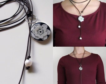 Leather, Pearl, and Lace Necklace/ Lariat/ Can be made with your wedding dress lace/ Choker or Long Necklace