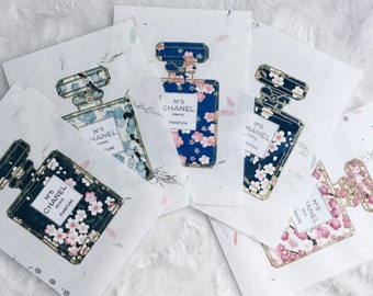 Floral Perfume bottle Dividers| Japanese Rice Papar | Chiyogami (Yuzen) | Personal, travel and A5 | Filofax dividers | Filofax Stationary