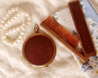 Snake Skin Compact Comb Set, Pocket Watch Style Brown Leather Mirrored Compact with Folding Comb