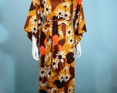 Vintage 60s Hippie Floral Hawaiian Maxi Dress, Floral Mumu Tiki Dress, Festival Pool Party Summer Resort Caftan, Boho Belted Long Dress