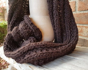 Hand Knitted Dark Brown Infinity Scarf Wool Alpaca Women Men Scarf Loop Scarf Warm Winter Scarf