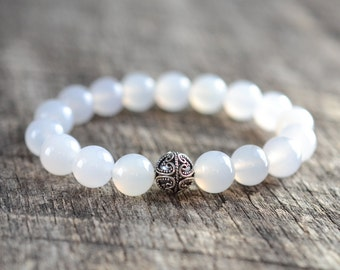 White Agate Bracelet • Gemstone Bracelet • Sterling Silver Heart Bracelet • Beaded Womens / Mens Jewelry • Semi Precious Stones • Gifts