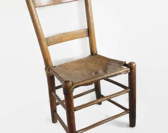 Antique Ladder Back Chair Rawhide Seat, Rustic Primitive Accent Chair, Rawhide Leather Seat, Folk Art Cabin Decor