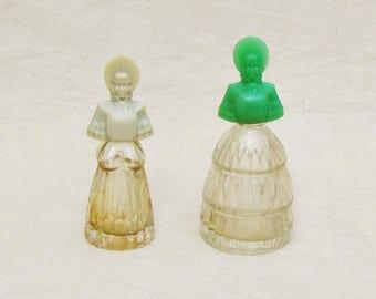 Vintage perfume bottles shaped like Victorian ladies, set of 2 miniature perfume bottles, figural perfumes