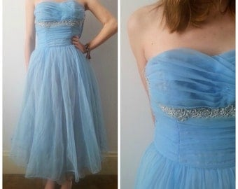 SALE Vintage 1950s prom dress, 1960s prom dress, blue tulle chiffon prom dress, xs
