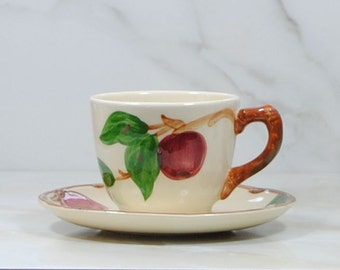 Vintage Franciscan Apple Tea Cup and Saucer by California Pottery, Hand Painted, Mid Century Teacup and Saucer, Apple Cup, Apple Plate