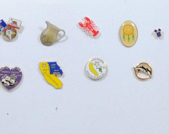 Vintage Metal Pins, Plastic Pins, Mixed Lot, 9 Pins, Crafting, Steampunk, Hat Pins, Dream Catcher, Masonic, Pandas, winterparkcollect
